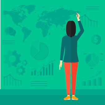 レポートを提示するビジネスの女性。