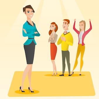 会議で拍手を送るビジネス人々。
