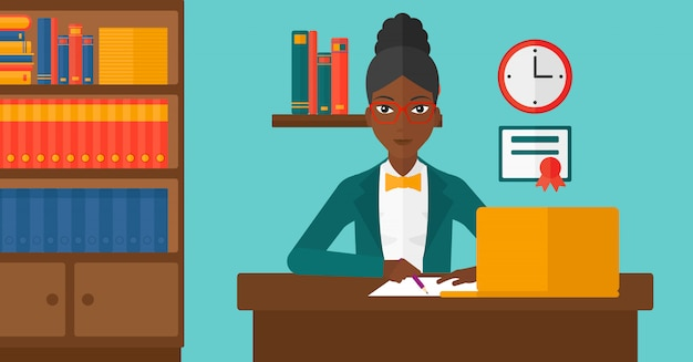 教育のためのラップトップを使用して女性