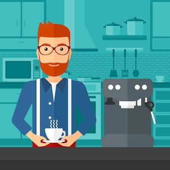 コーヒーを作る男