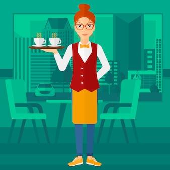 Официантка держит поднос с напитками