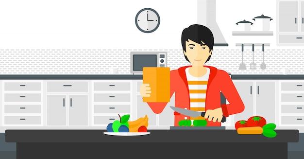 食事を調理する男。