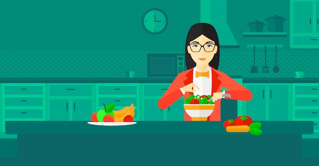 女性が食事を調理します。