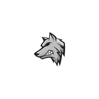 オオカミマスコットロゴデザインベクトル文字
