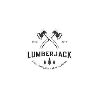 木こりや木工品のロゴデザインのヴィンテージ斧ロゴ