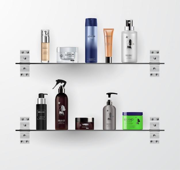 現実的な化粧品ボトルモックアップセット。