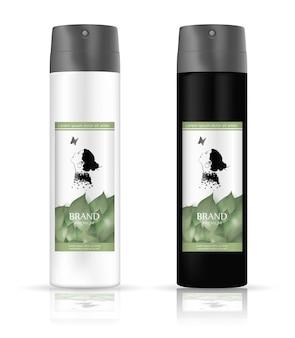 緑の葉のラベルを白で隔離される空白と白のチューブ化粧品パッケージセット。