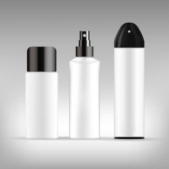 現実的な化粧品の白いチューブセットのセット