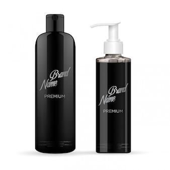 Набор реалистичного черного пакета роскошного косметического продукта