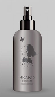 灰色の背景に分離された化粧品ボトル