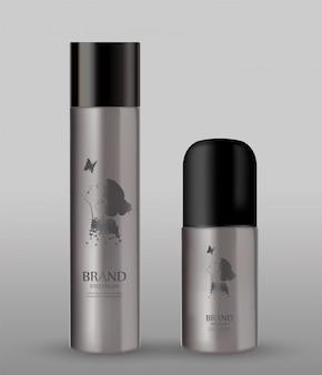 灰色の背景に化粧品の金属ボトル