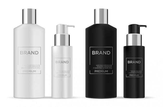 Черный пластиковый набор бутылок
