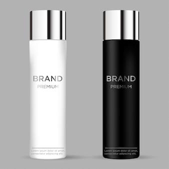 灰色の背景に分離された空白の化粧品パッケージ