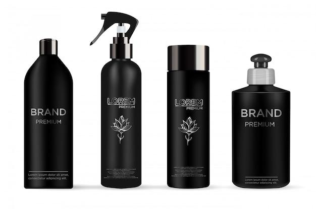 現実的な黒いパッケージ化粧品のセット: