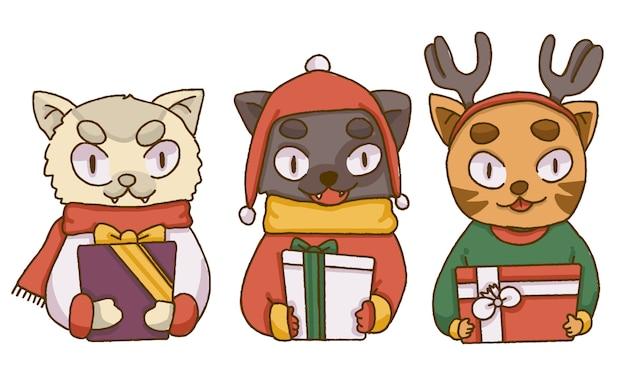 Рождественские милые кошки с рождественскими подарками