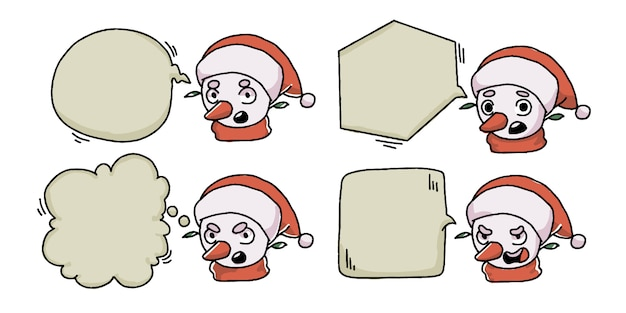 クリスマス雪だるまバブルチャットバナーセット