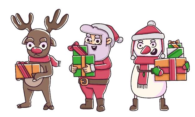 Рождество санта-клаус, олени и снеговик, держа рождественские подарки