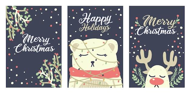 クリスマスのかわいいクマ、トナカイ、カードの装飾品