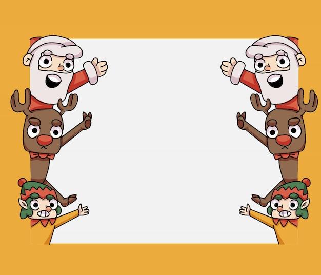 Рождество санта, олени и гном, размахивая пустой баннер