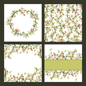 シームレスな花柄と花輪のデザイン