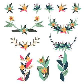 花のカスタマイズデザインのセット