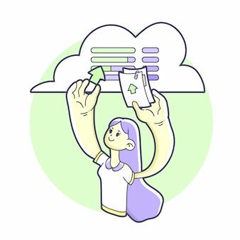Девушка с облачного сервера загружает файлы
