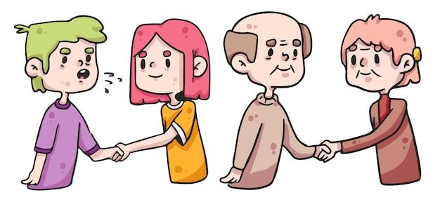 Молодые и пожилые люди пожимают друг другу руки