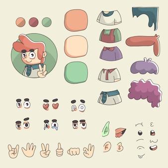 カスタマイズされた漫画男プロフィール画像クリエーターキャラクターデザイン