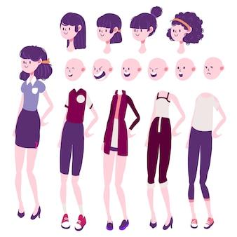 女の子キャラクターの感情、髪、服セット