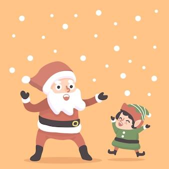 クリスマスサンタと小人の幸せなイラスト