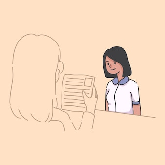 ノートパソコンのイラストを使用して自宅で働く女の子