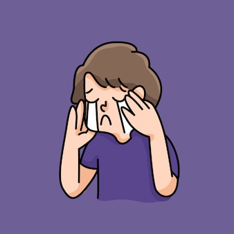Депрессия мальчик грустный отказ нет вдохновение милый мультфильм иллюстрация разочарован прекратить издевательства