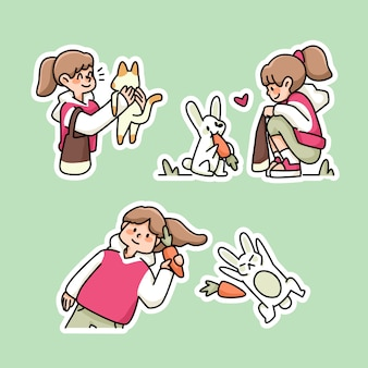 かわいいウサギと女の子にんじんのかわいい漫画イラストステッカースタイル
