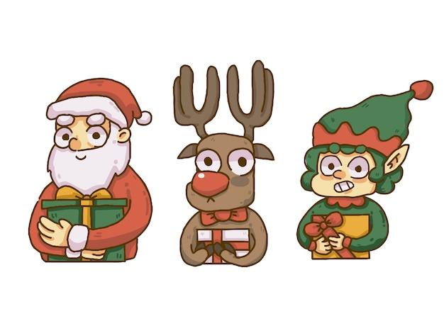 Рождество санта, олень и эльф холдинг подарки