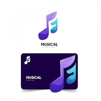 Музыкальный дизайн логотипа и шаблон визитки