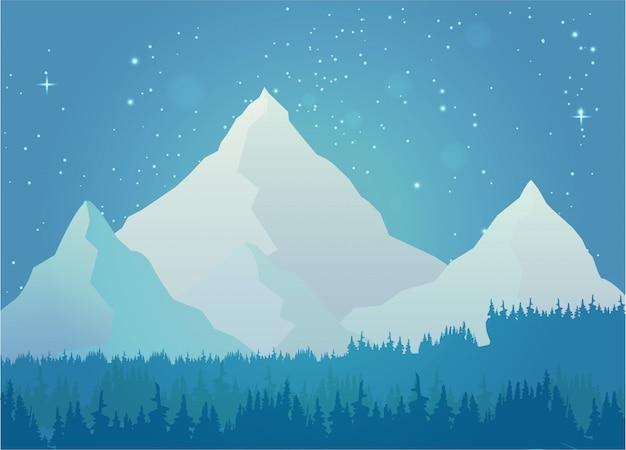 夜の風景で山の雪