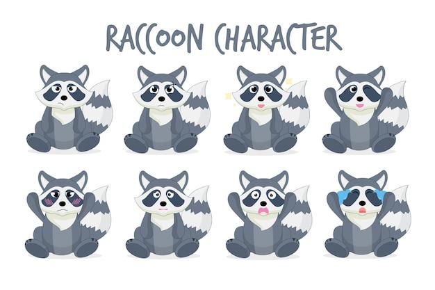 かわいいアライグマの漫画のキャラクターのセット