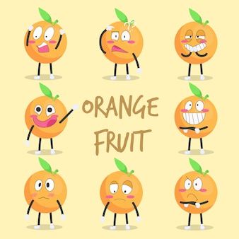 さまざまな感情のかわいいオレンジ色のキャラクター