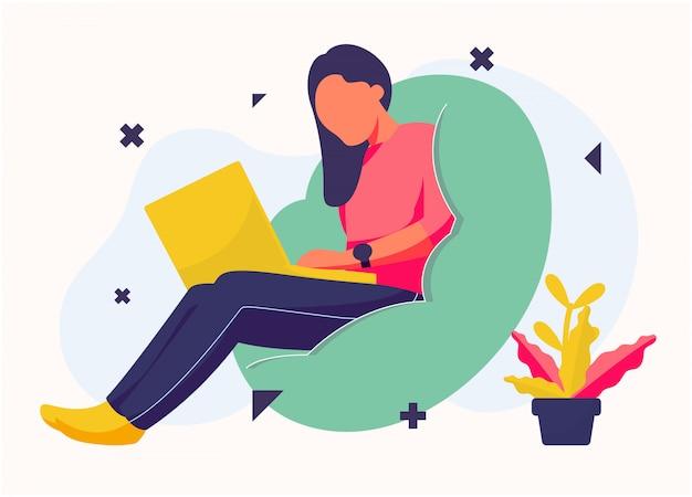 Женщина играть ноутбук иллюстрация