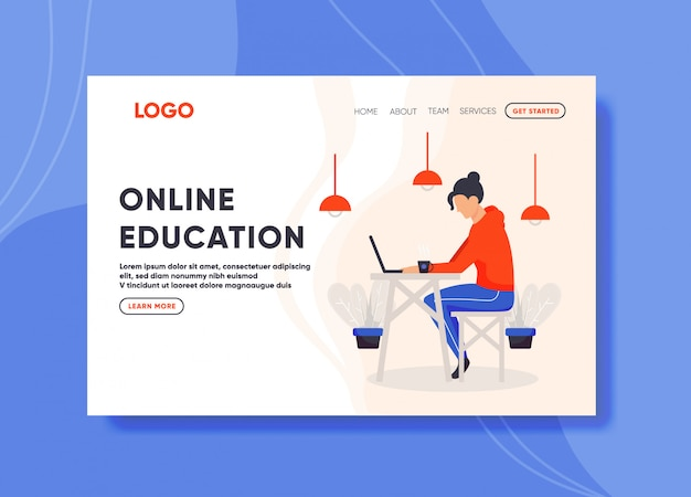Интернет образовательная иллюстрация для шаблона целевой страницы