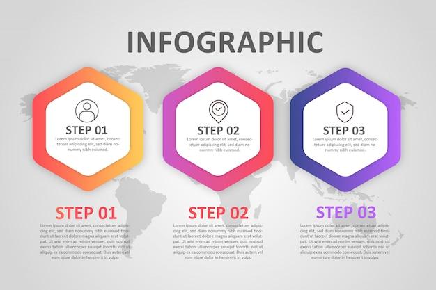 インフォグラフィック六角形ステップフルカラーグラデーション