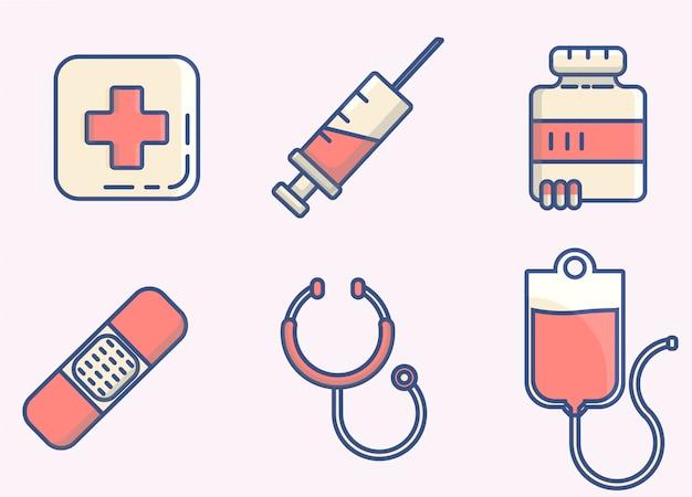 Значок медицинских элементов линий
