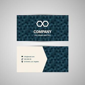 青色の六角形パターンのビジネスカード