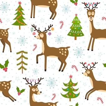 かわいいクリスマスの鹿のシームレスなパターン。面白いトナカイと冬の背景。
