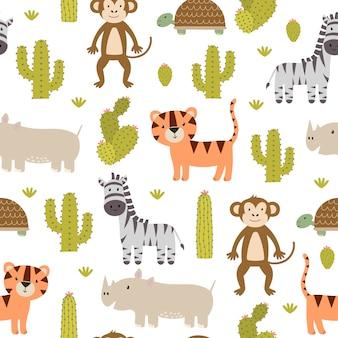 かわいいサファリ動物のシームレスパターン。
