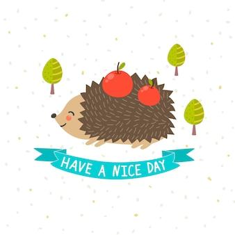 かわいいハリネズミと素敵な日カードを持っている