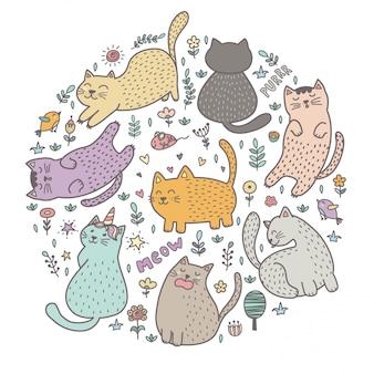 かわいい猫の輪状プリント