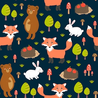 かわいい動物と森のシームレスパターン