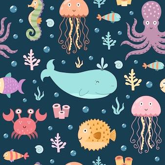 Морская жизнь бесшовные модели.