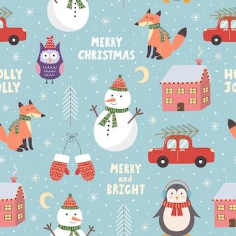 かわいい雪だるま、キツネ、フクロウ、ペンギンとメリークリスマスのシームレスパターン。ベクトルイラスト